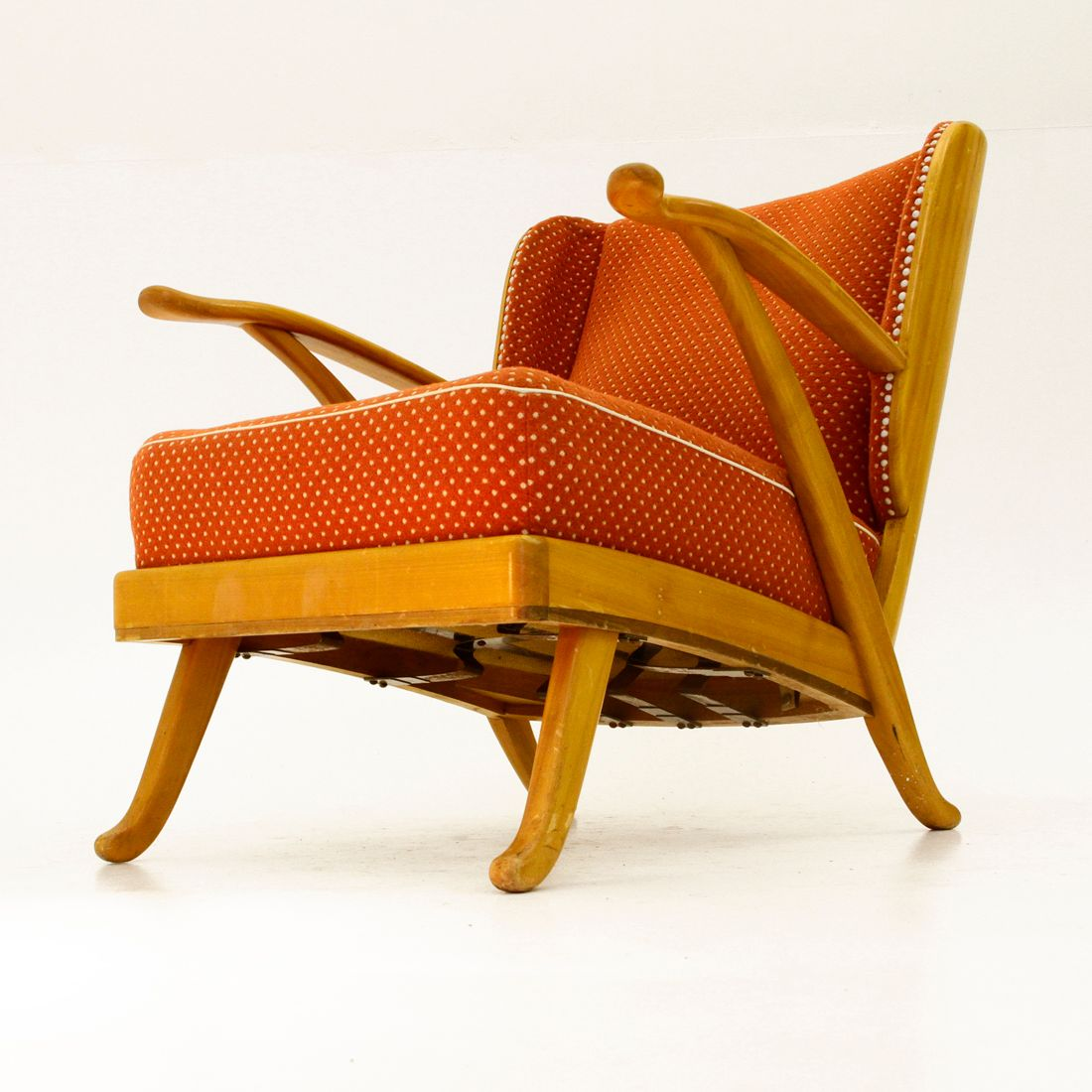 Vintage Italian Wooden Lounge Chair for sale at Pamono