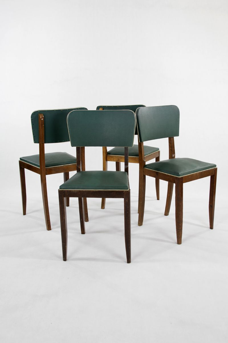 Vintage French Green Leatherette Dining Chairs Set Of 4