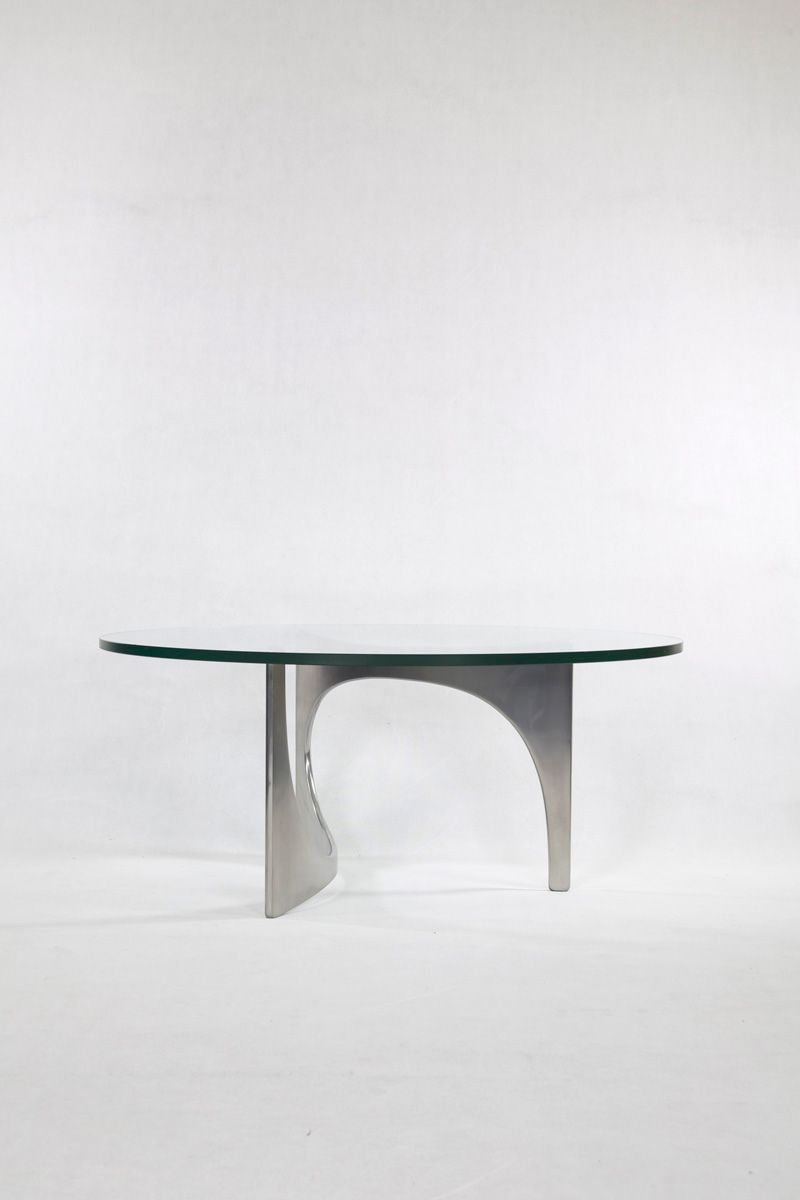 Mid Century Aluminum Crystal Coffee Table By Knut Hesterberg For Bacher Tische For Sale At Pamono