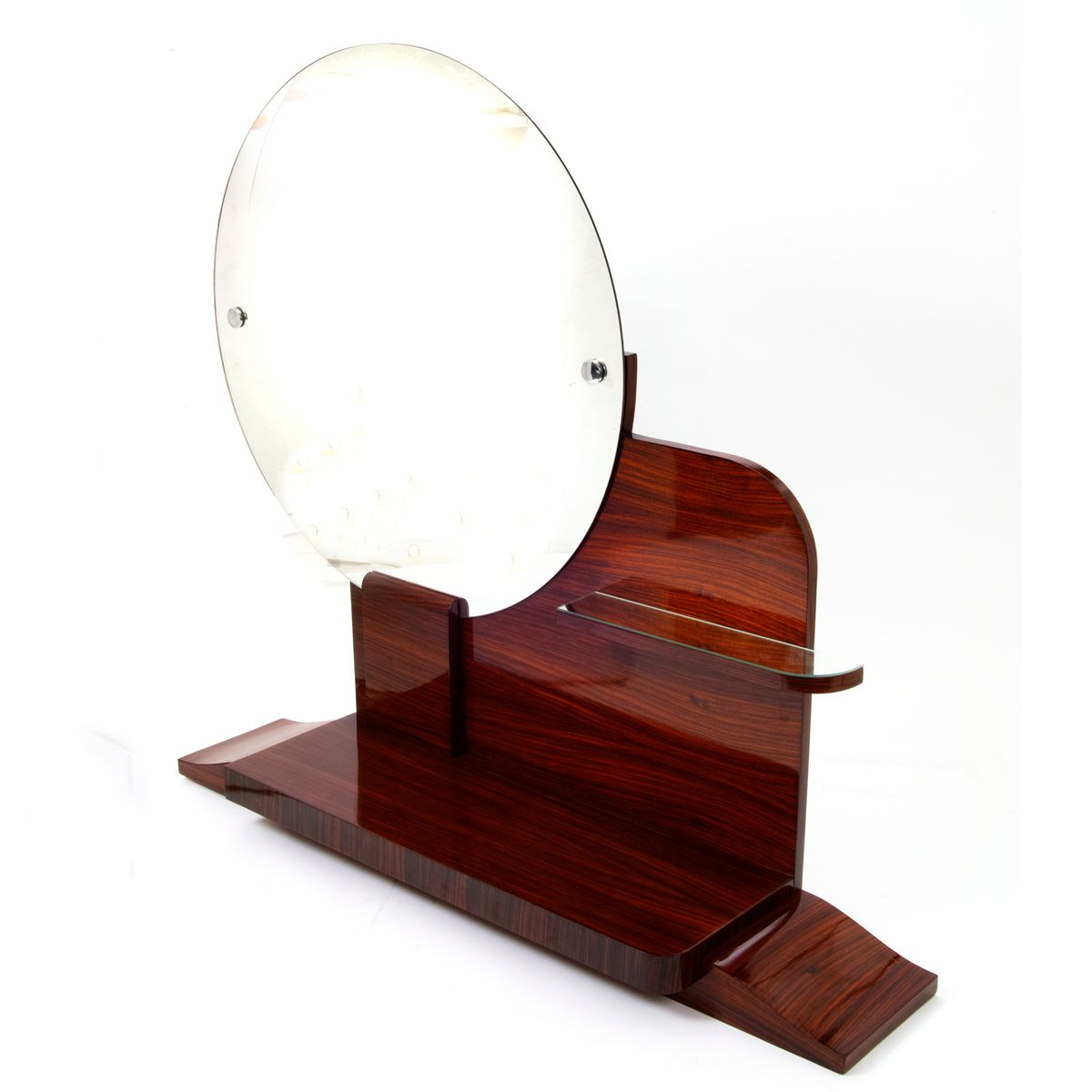 round art deco mirror with shelves for sale at pamono. Black Bedroom Furniture Sets. Home Design Ideas