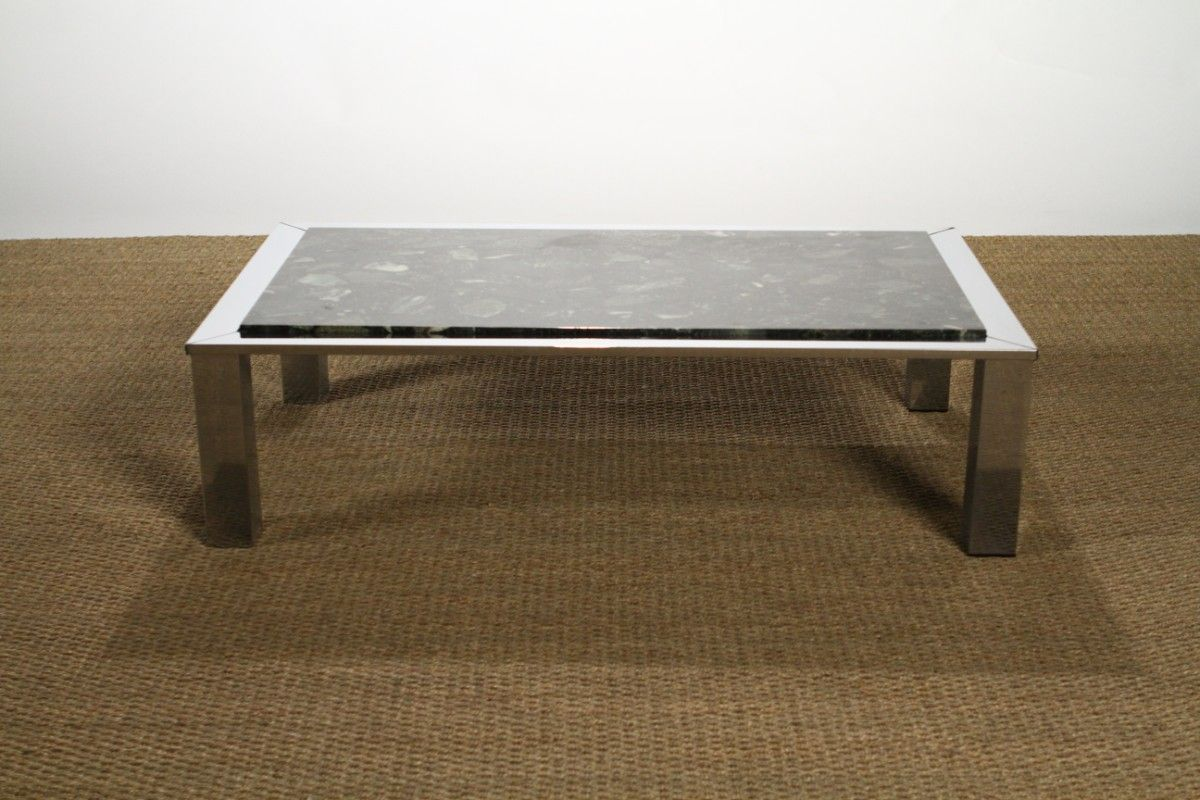 Chrome marble coffee table from roche bobois 1970s for sale at pamono Roche bobois coffee table