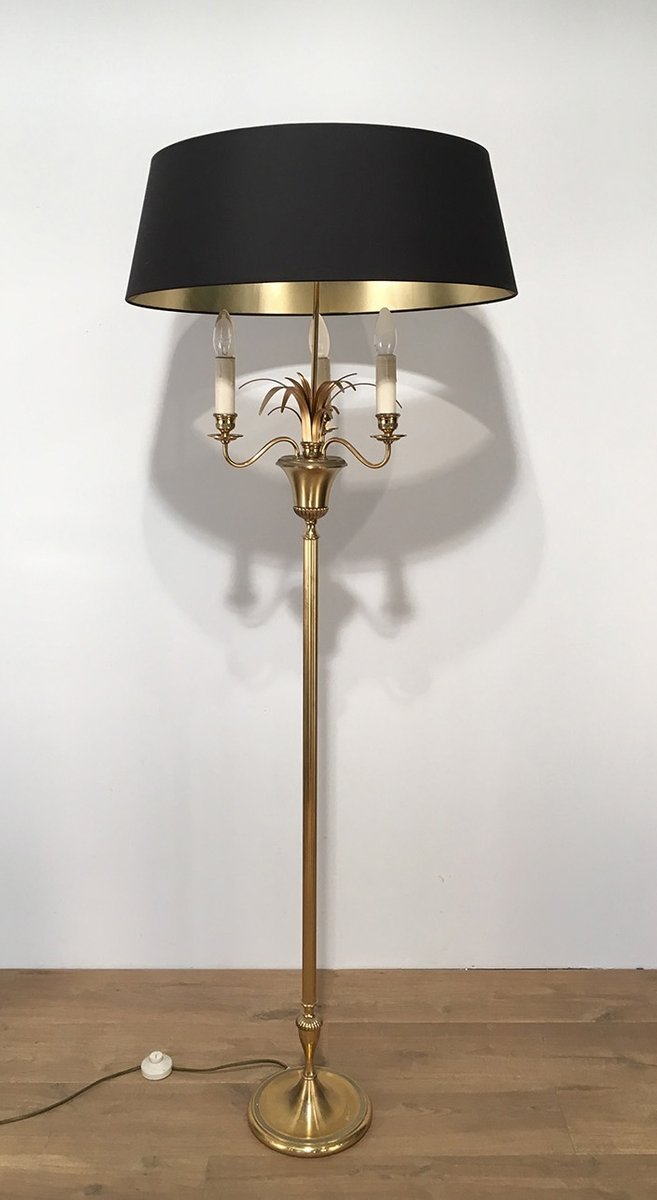 three light brass floor lamp 1940s for sale at pamono. Black Bedroom Furniture Sets. Home Design Ideas