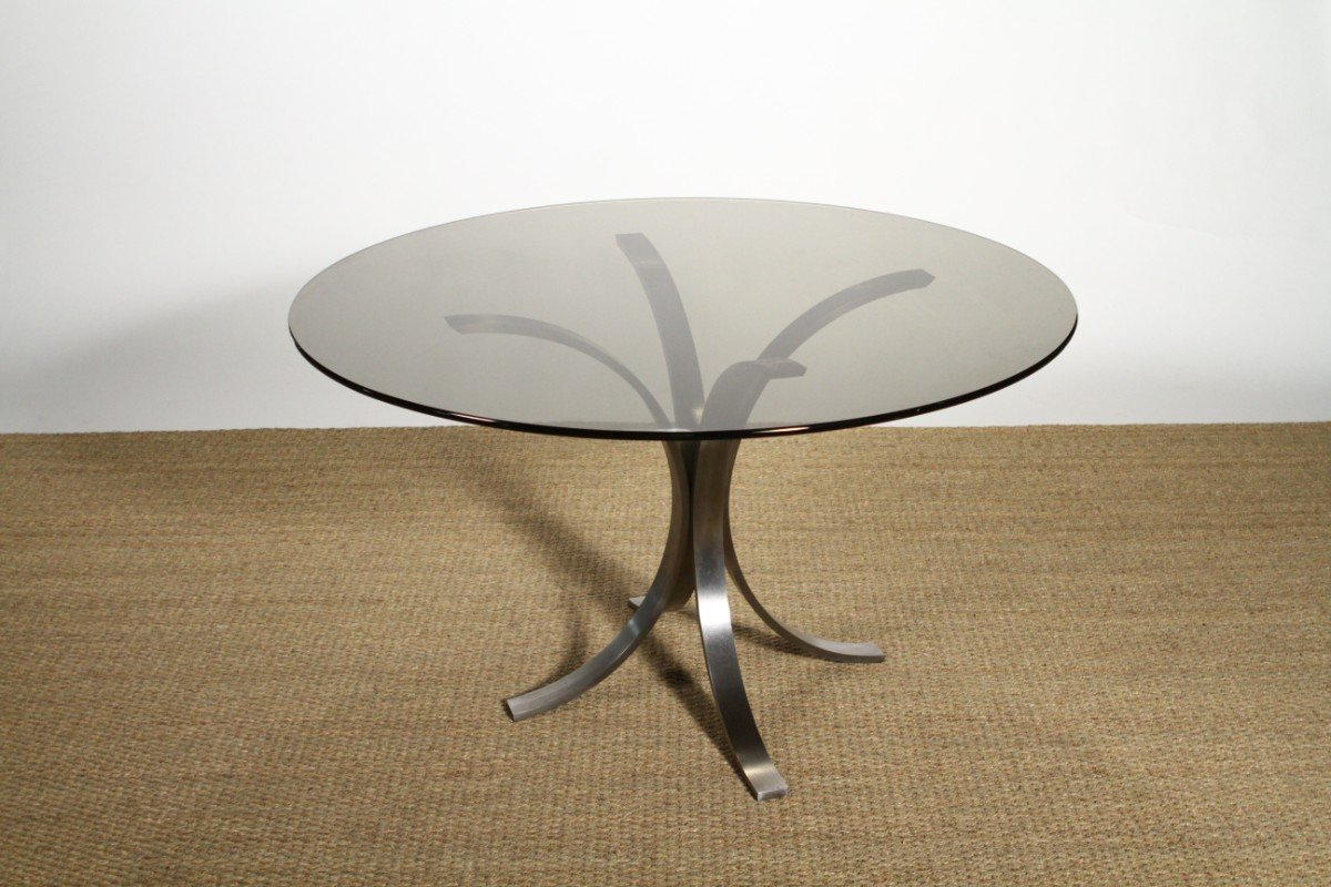Vintage Steel Smoked Glass Dining Table By Osvaldo Borsani For Roche Bo