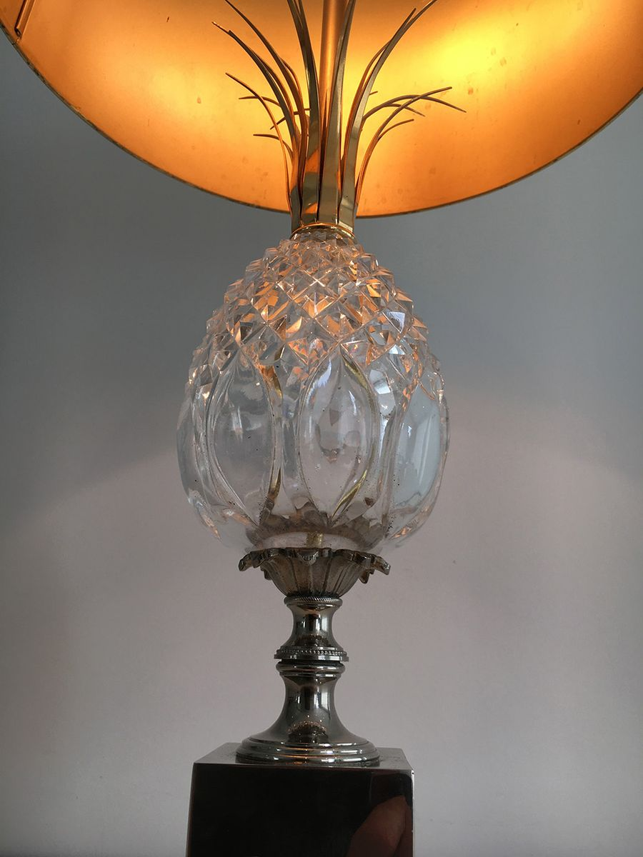 tischlampe mit ananas aus glas 1960er bei pamono kaufen. Black Bedroom Furniture Sets. Home Design Ideas