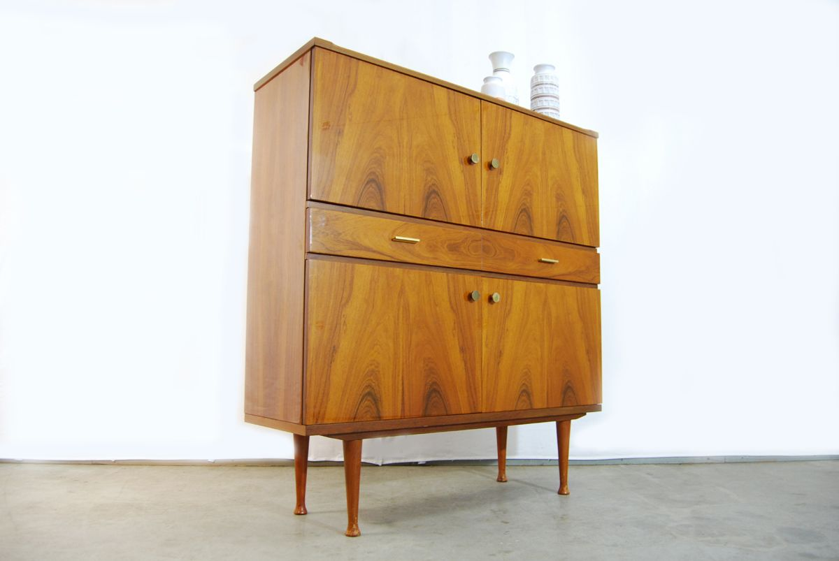 Mid Century Walnut Highboard Cabinet 1960s For Sale At Pamono