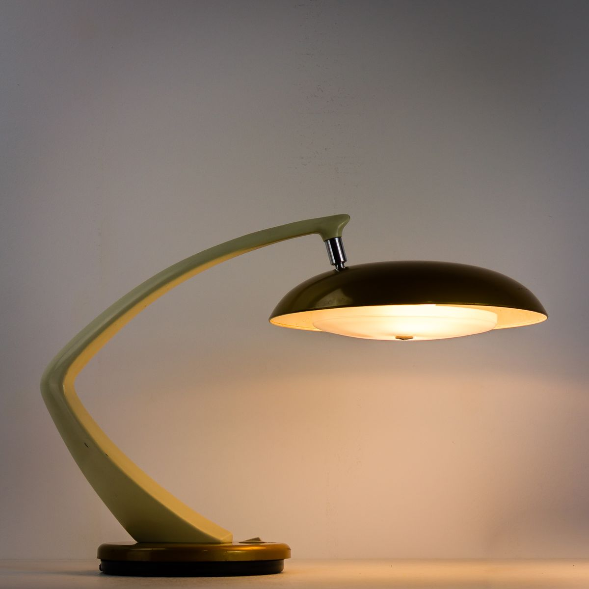 White Amp Gold Desk Lamp From Fase Madrid 1970s For Sale At