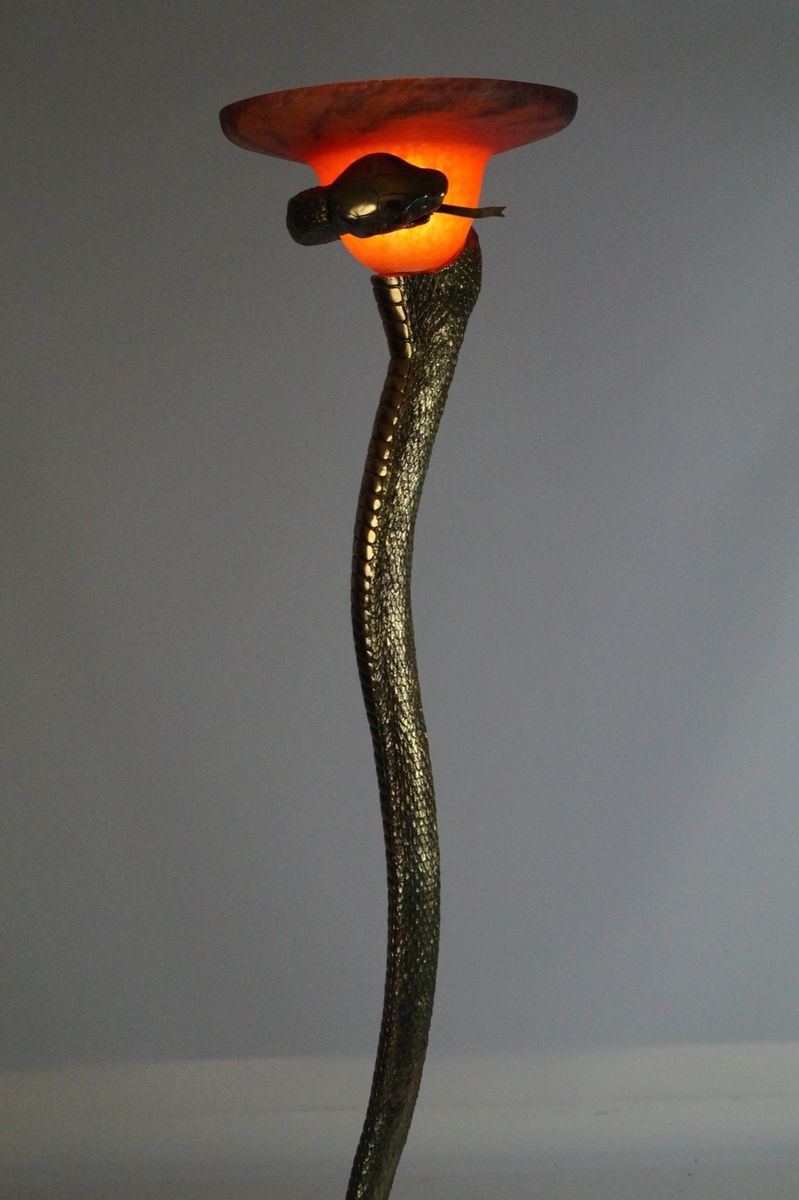 Gilded Snake Floor Lamp, 1970s for sale at Pamono