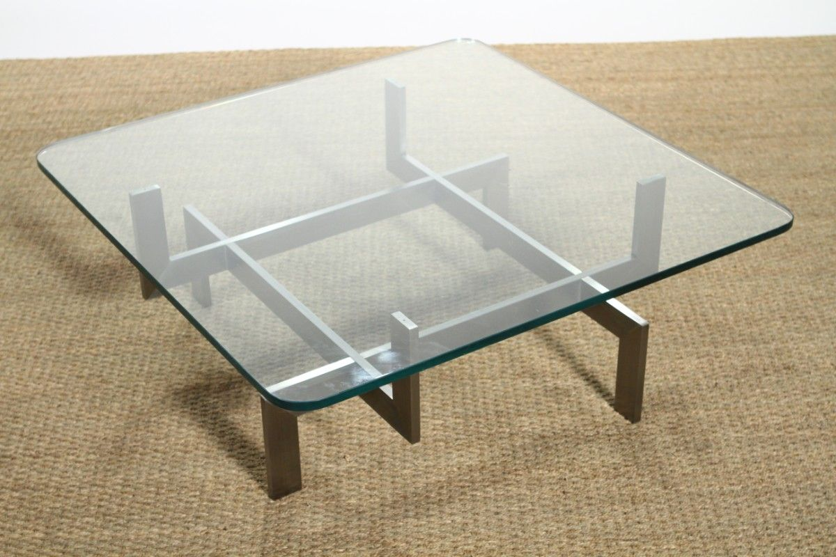 Vintage Steel Glass Coffee Table By Le Geard 1970s For Sale At Pamono