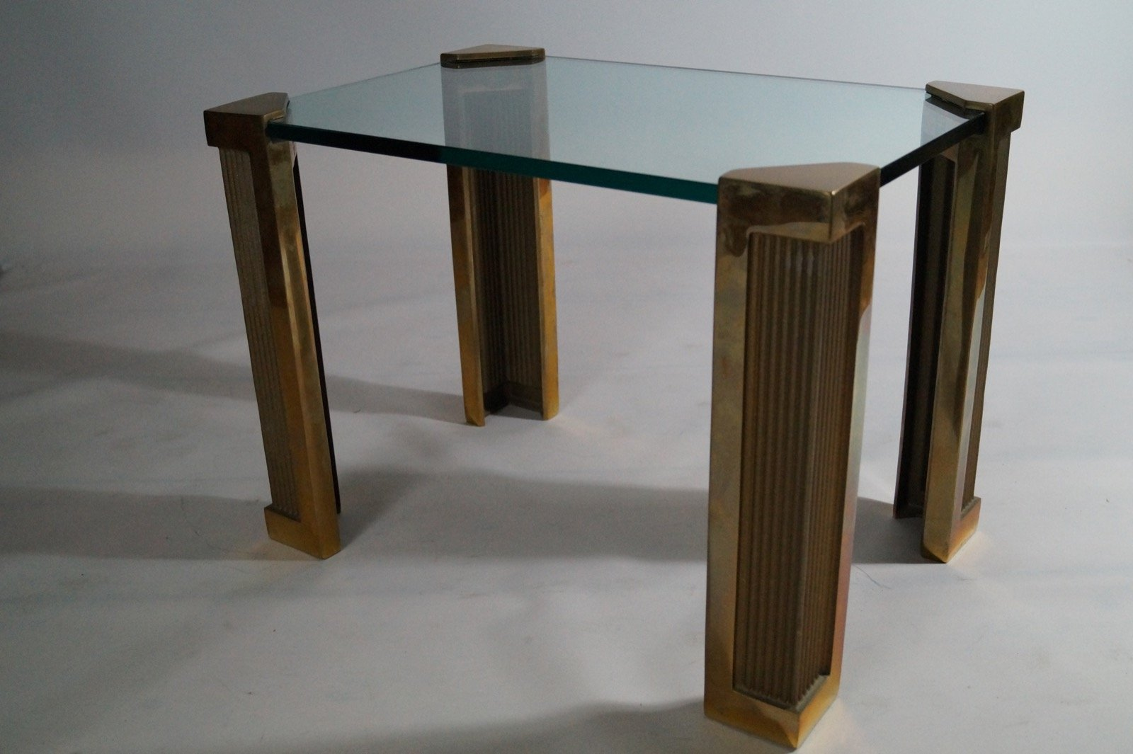 Brass and glass coffee table by peter ghyczy 1970s for for Brass and glass coffee table