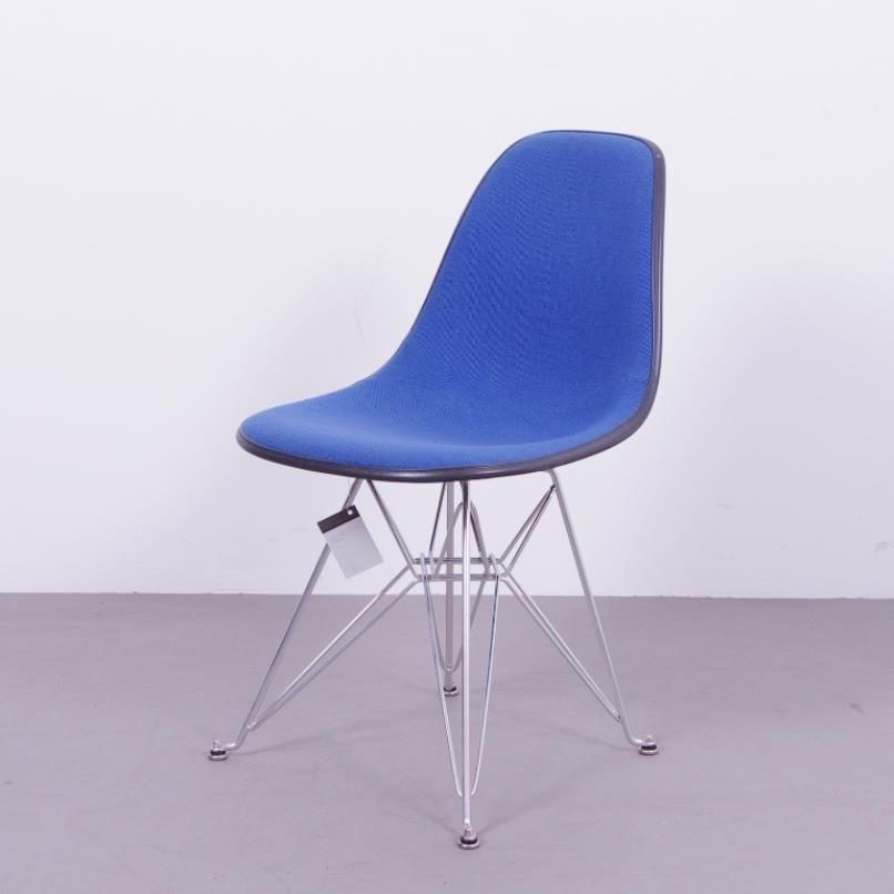 Black Fiberglass Chair With Blue Upholstery By Charles U0026 Ray Eames For  Herman Miller, 1970s For Sale At Pamono