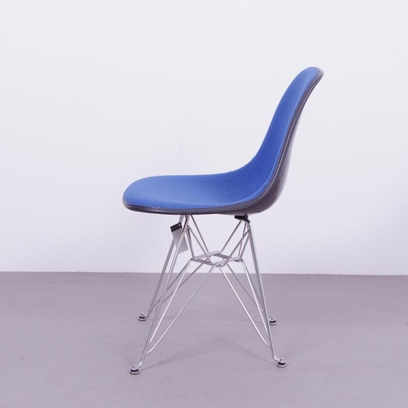 black fiberglass chair with blue upholstery by charles ray eames for herman miller 1970s for. Black Bedroom Furniture Sets. Home Design Ideas