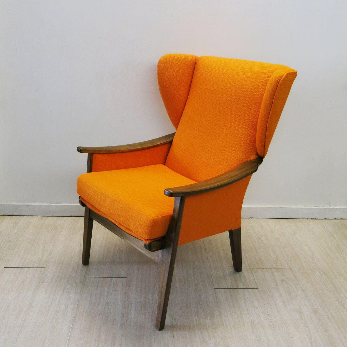fauteuil oreilles vintage orange de parker knoll angleterre 1960s en vente sur pamono. Black Bedroom Furniture Sets. Home Design Ideas