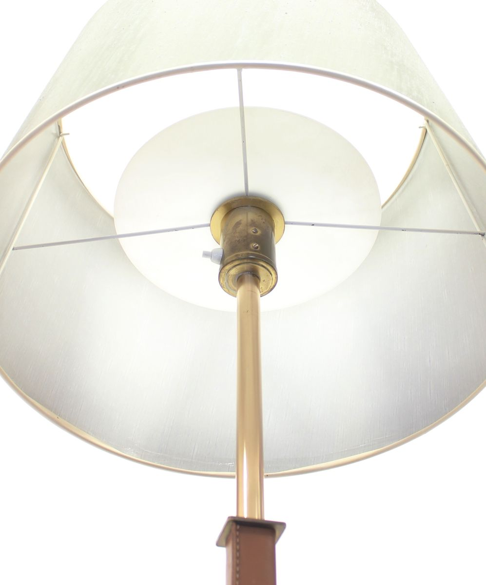 Brass leather floor lamp from philips 1970s for sale at pamono for 1970s floor lamps