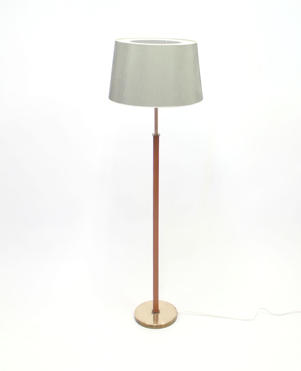 brass leather floor lamp from philips 1970s for sale at