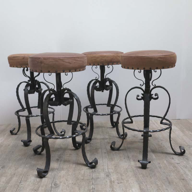 Vintage German Wrought Iron u0026 Leather Bar Stools 1970s Set of 4 & Vintage German Wrought Iron u0026 Leather Bar Stools 1970s Set of 4 ... islam-shia.org