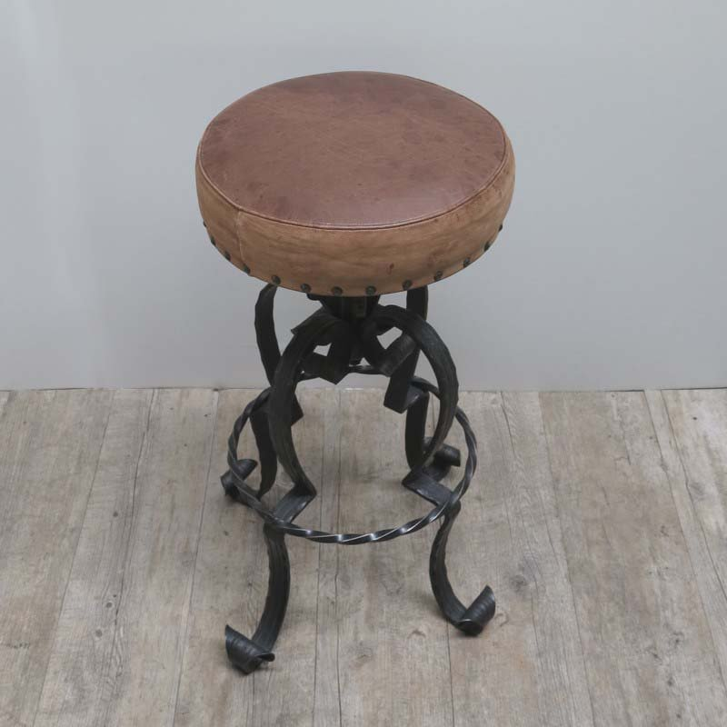 Vintage German Wrought Iron Amp Leather Bar Stools 1970s