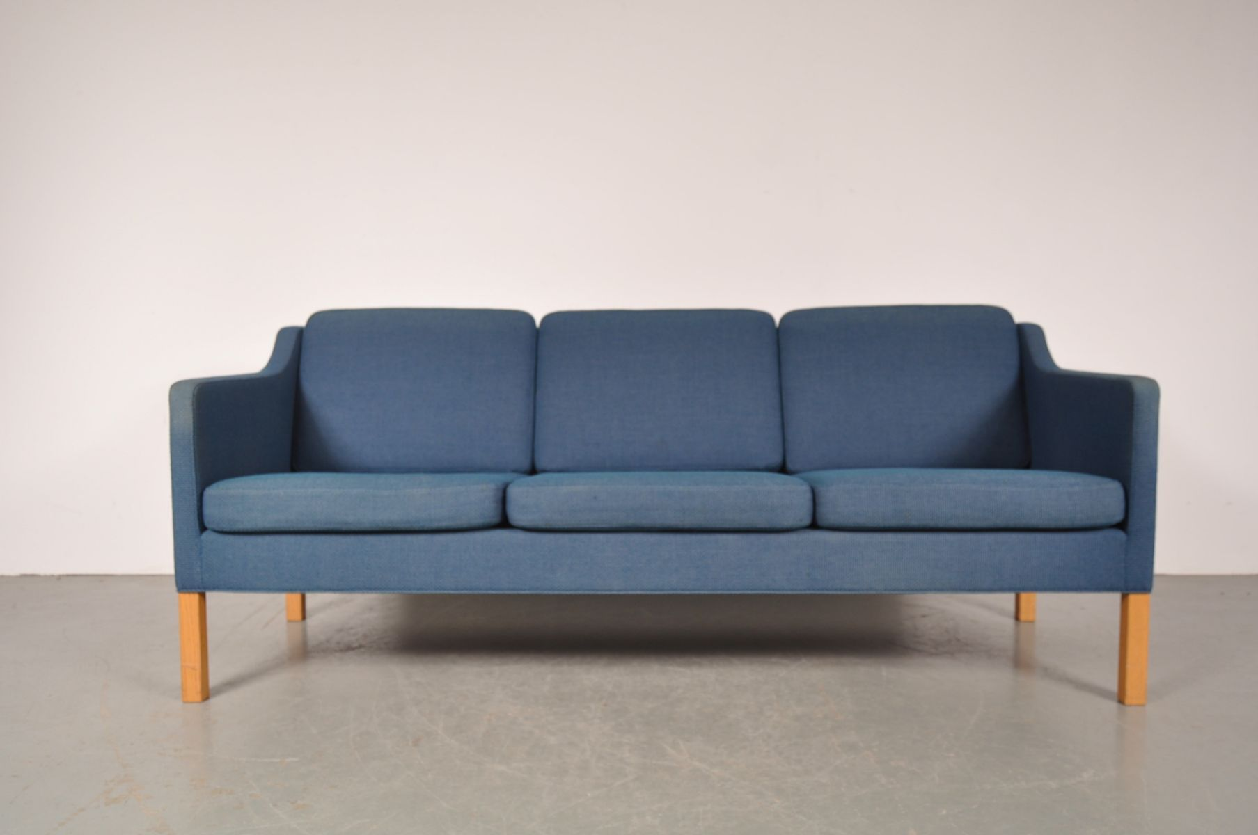 Danish three seater sofa with blue fabric by b rge for Blue sofas for sale