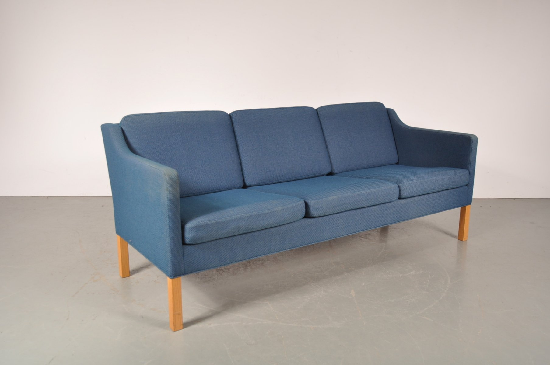 Danish Three Seater Sofa with Blue Fabric by B¸rge Mogensen for