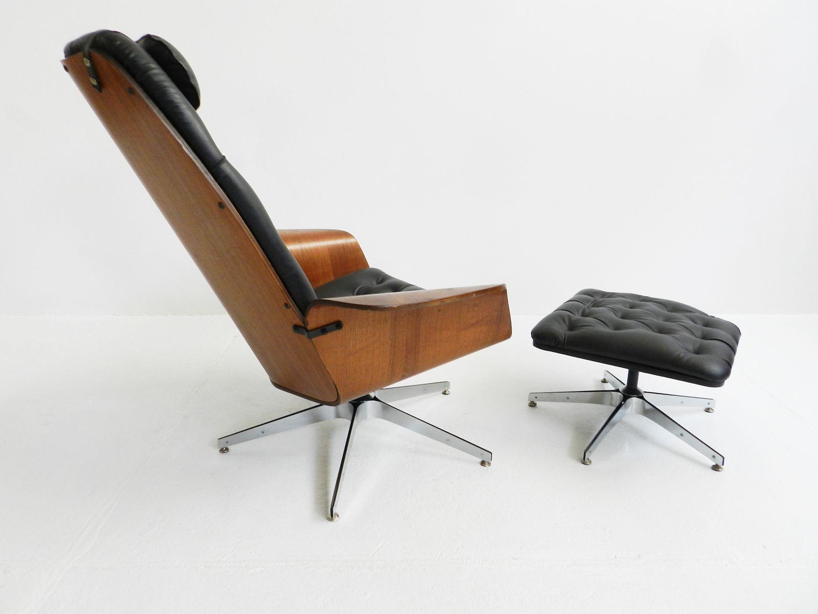 schwarzer ska sessel und ottomane von george mulhauser. Black Bedroom Furniture Sets. Home Design Ideas