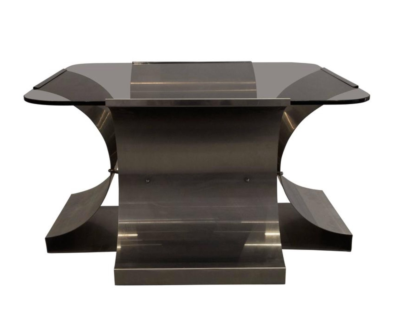 French stainless steel and glass coffee table by franois monnet french stainless steel and glass coffee table by franois monnet for kappa 1970s geotapseo Images