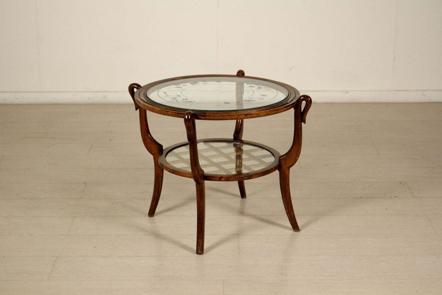 Decorative Glass Beechwood Coffee Table 1950s For Sale At Pamono