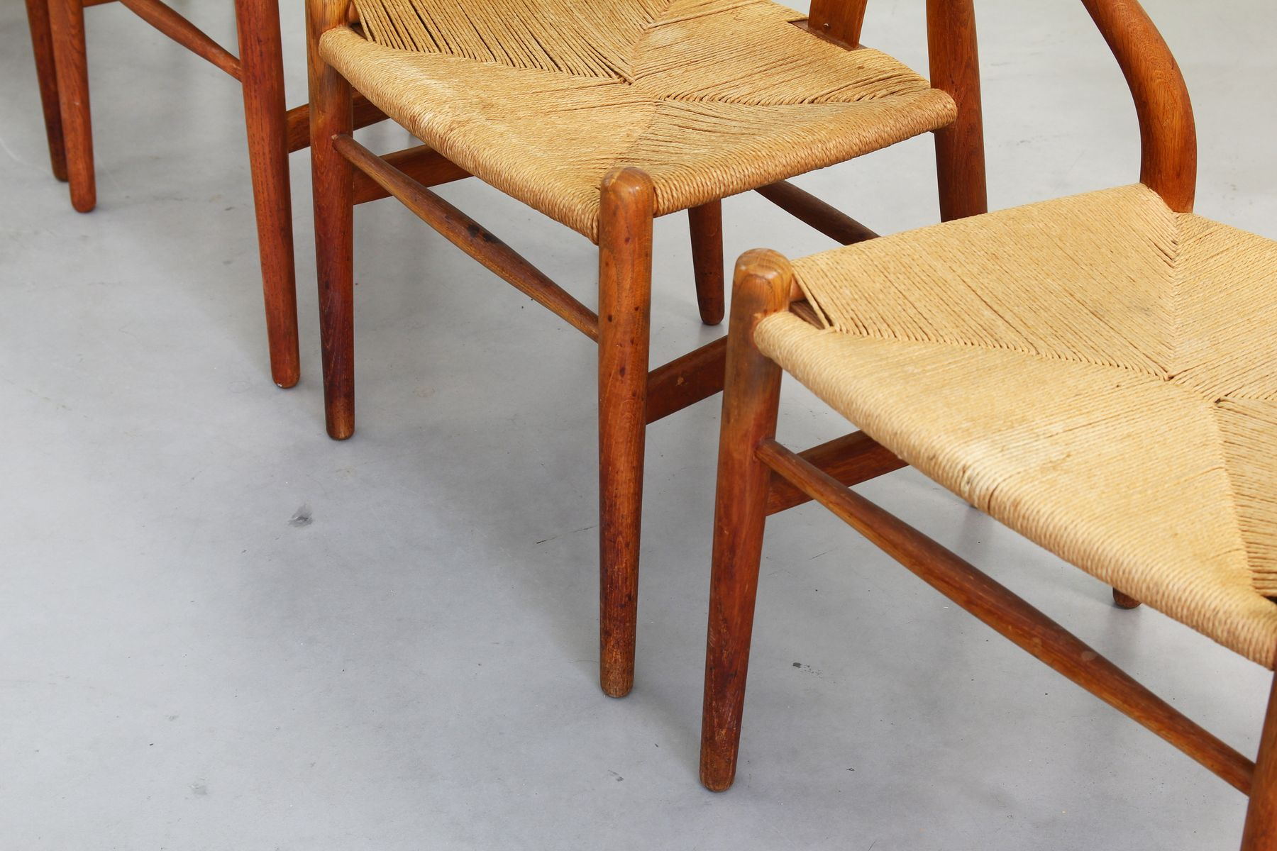 Danish Oak Wishbone Dining Chairs by Hans J Wegner for Carl