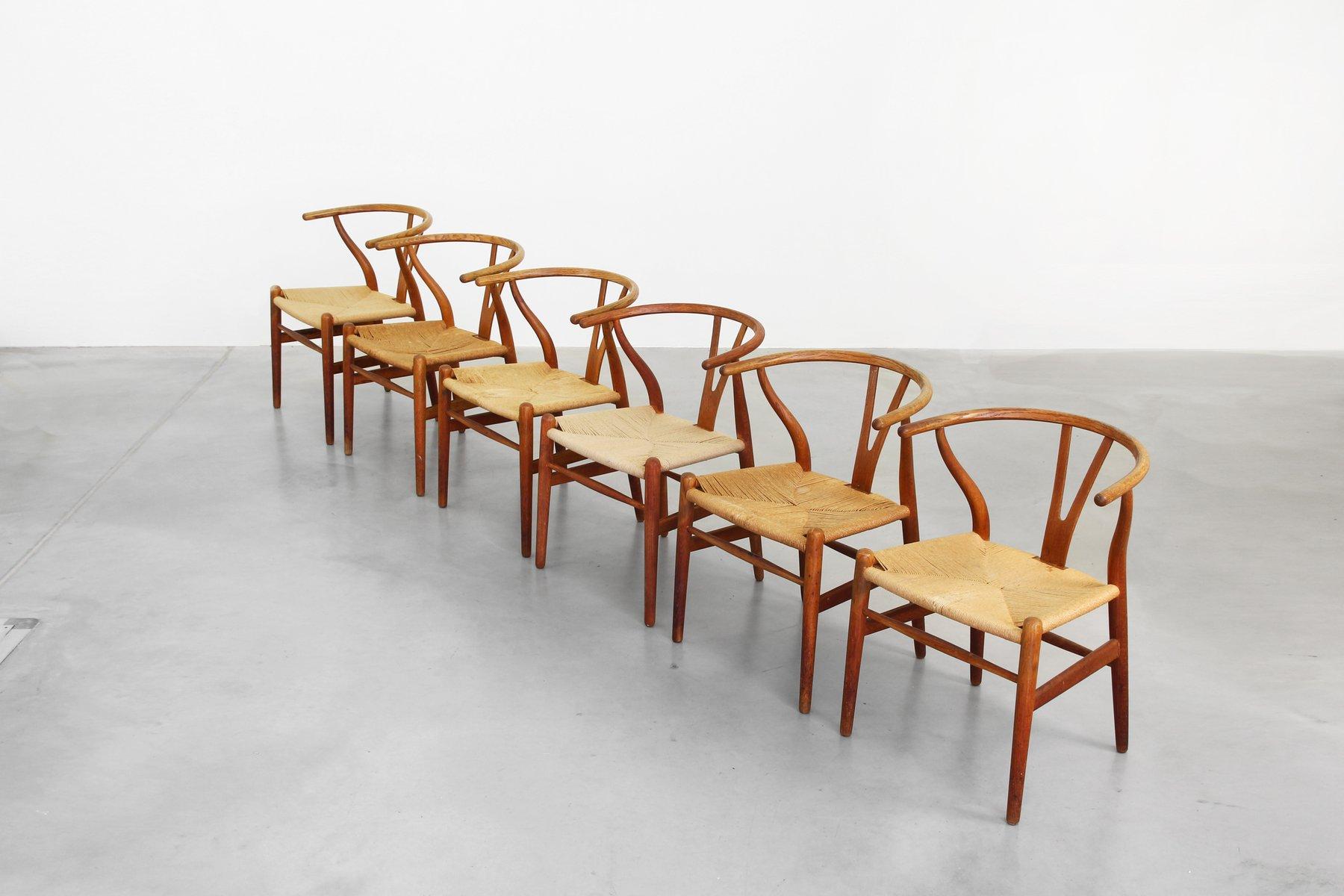 danish oak wishbone dining chairs by hans j wegner for carl hansen 1950s set of 6