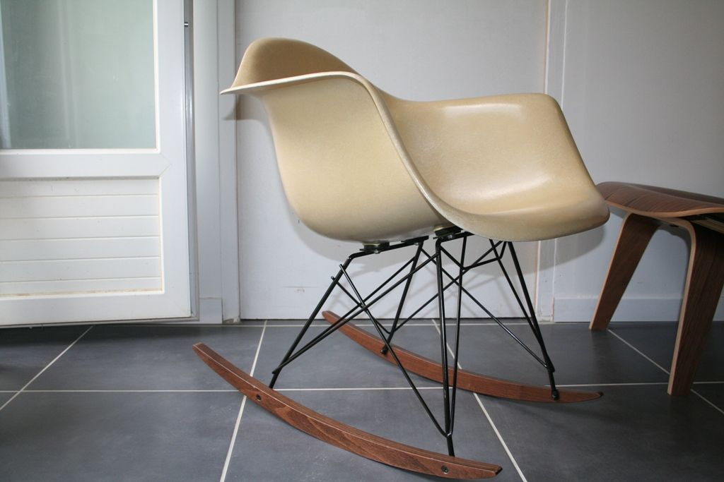eames rocking chair vintage. american vintage white parchment rar rocking chair by charles \u0026 ray . eames