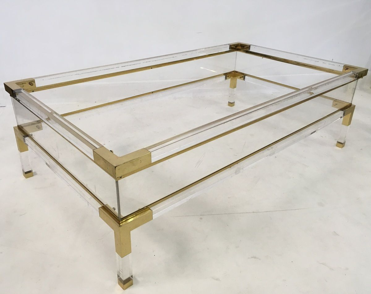 Lucite and brass coffee table with compartment 1970s for for Lucite and brass coffee table