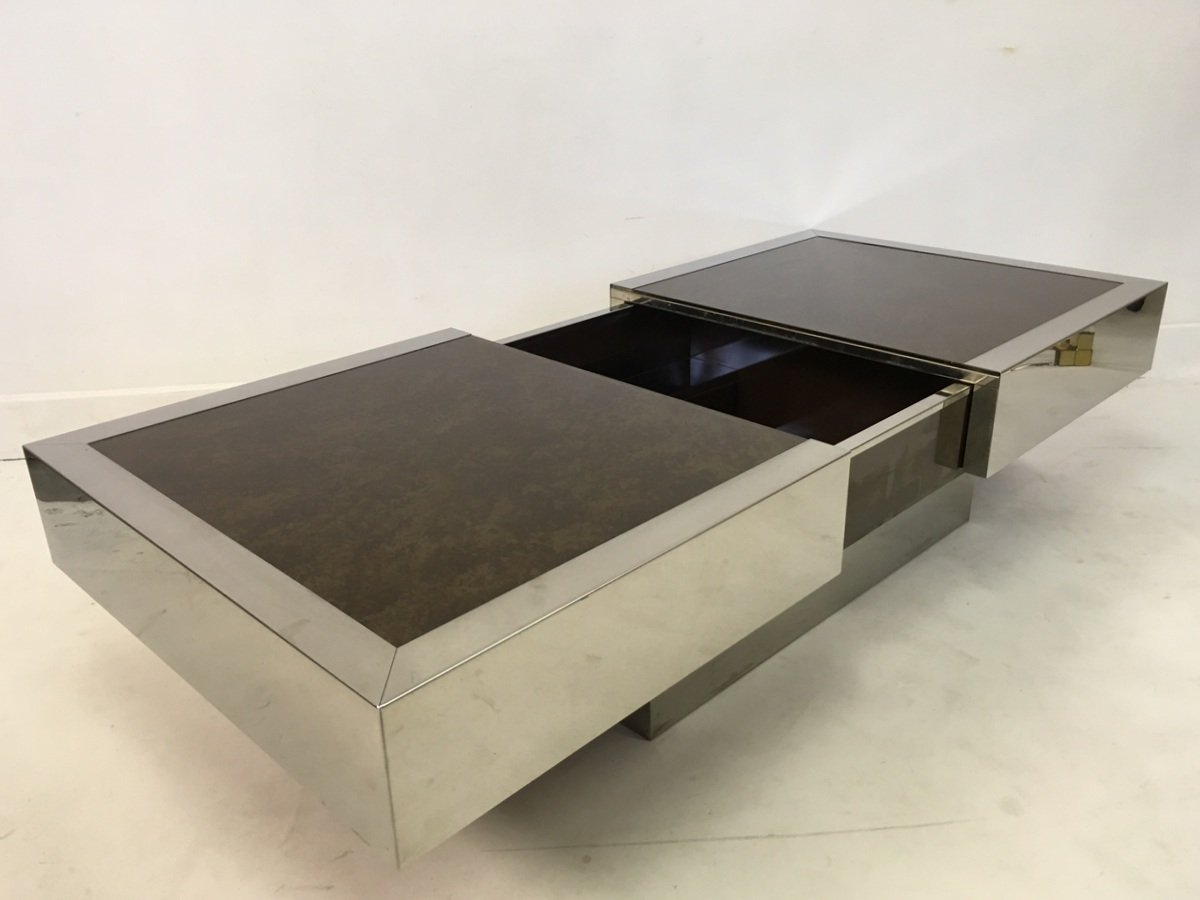 Chrome Coffee Table With Compartment By Willy Rizzo 1970s For Sale At Pamono
