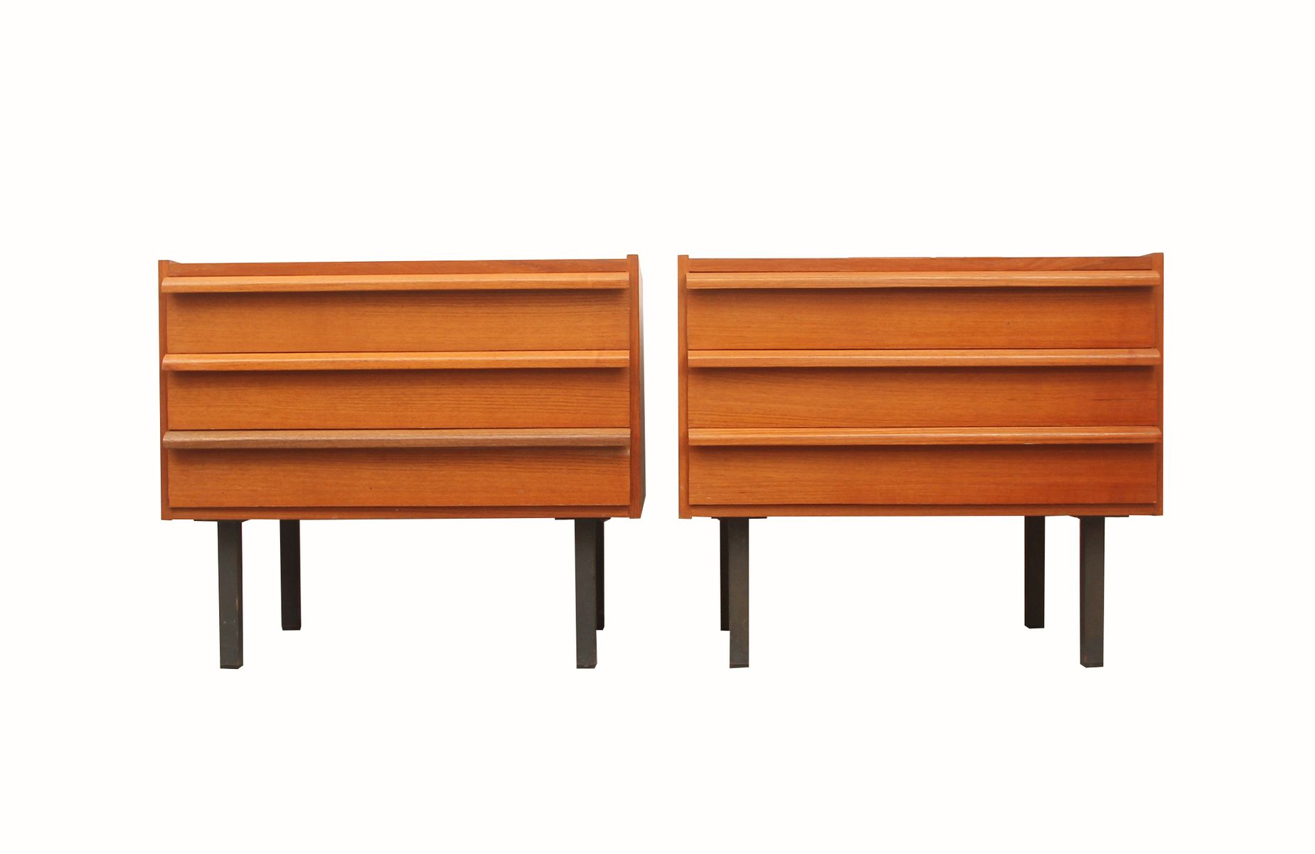 German Teak & Metal Chests of Drawers, 1960s, Set of 2 for ...