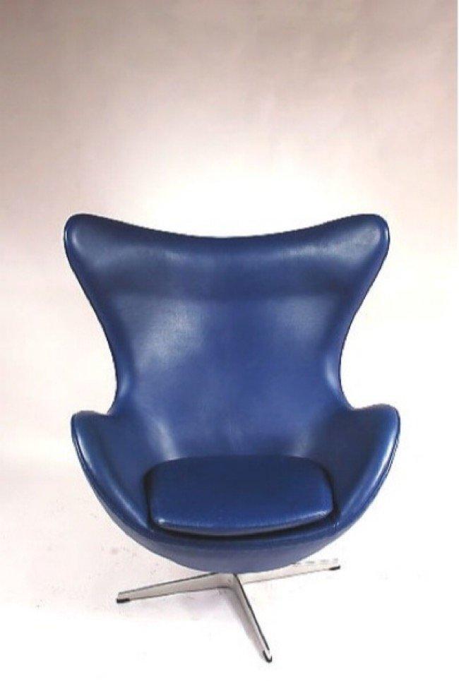 danish blue egg chair by arne jacobsen for fritz hansen 1950s for sale at pamono. Black Bedroom Furniture Sets. Home Design Ideas