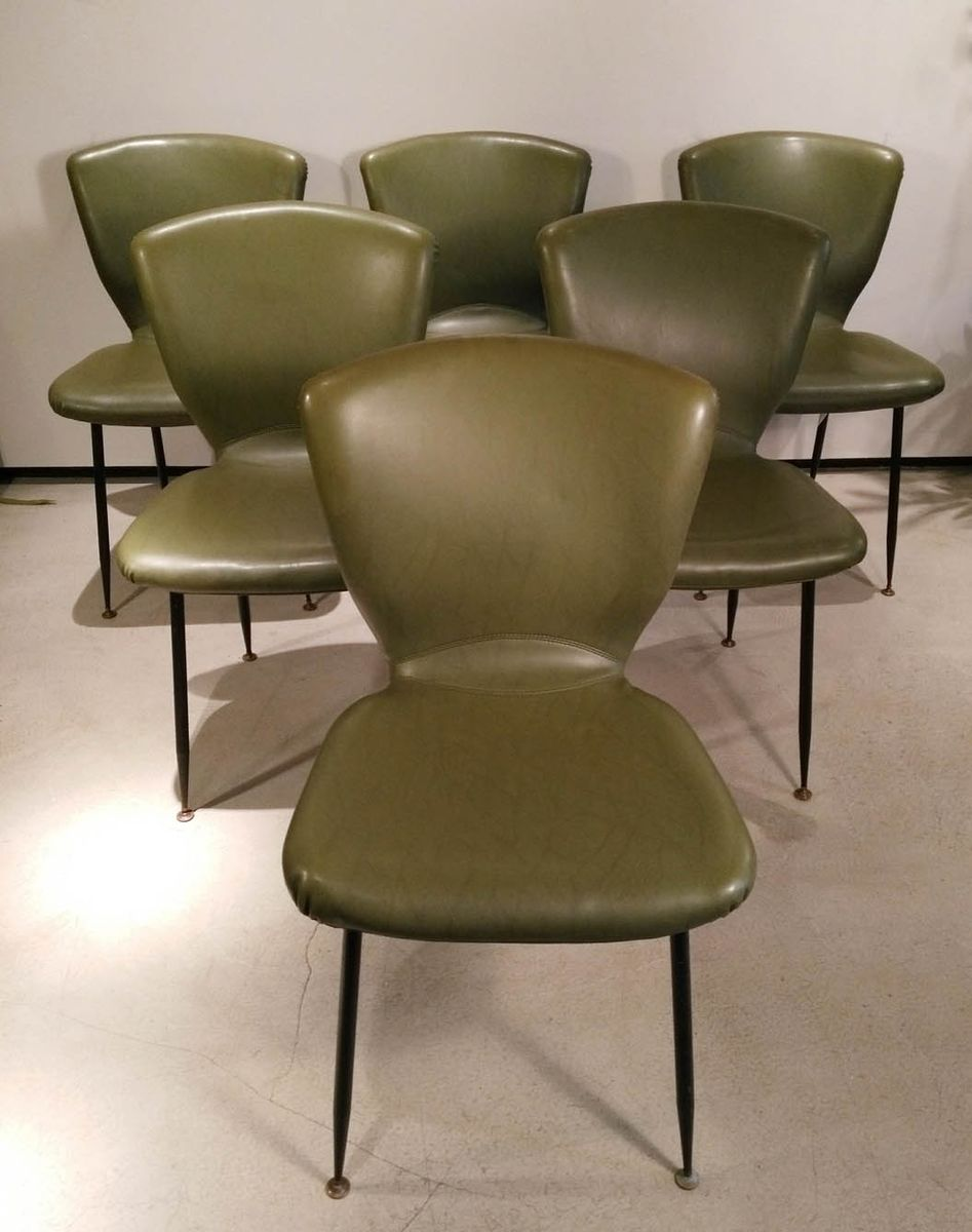 Mid Century Leather Chairs By Louis Sognot For Arflex Set