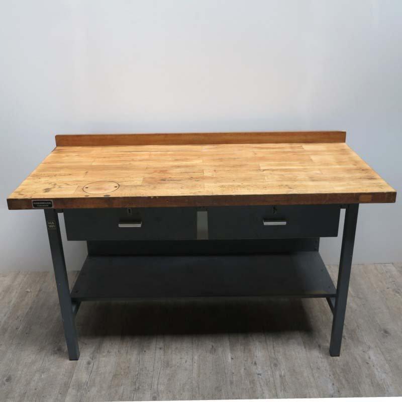 table de travail industrielle de hamann co 1950s en vente sur pamono. Black Bedroom Furniture Sets. Home Design Ideas