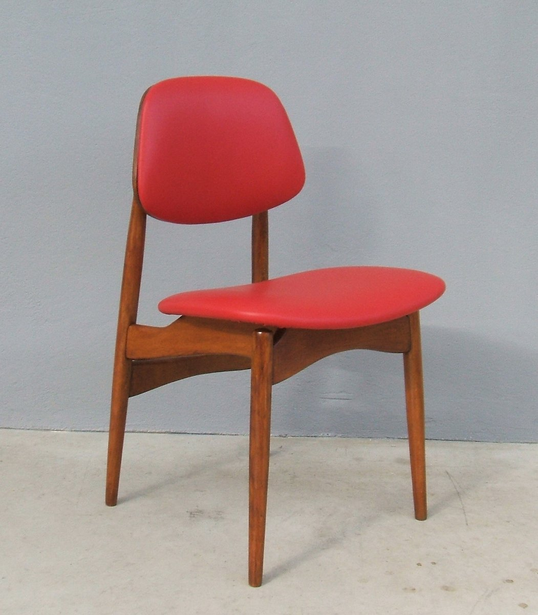 Italian Beech Leather Dining Chairs 1950s Set Of 6 For