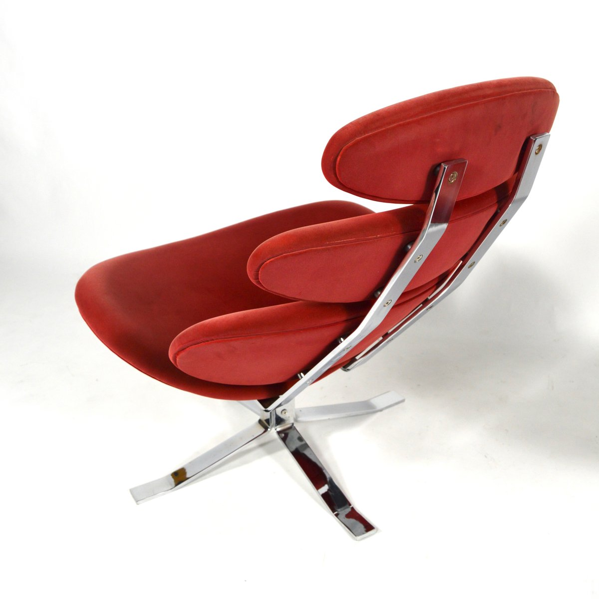 danish swivel lounge chair with footstool 1970s for sale at pamono