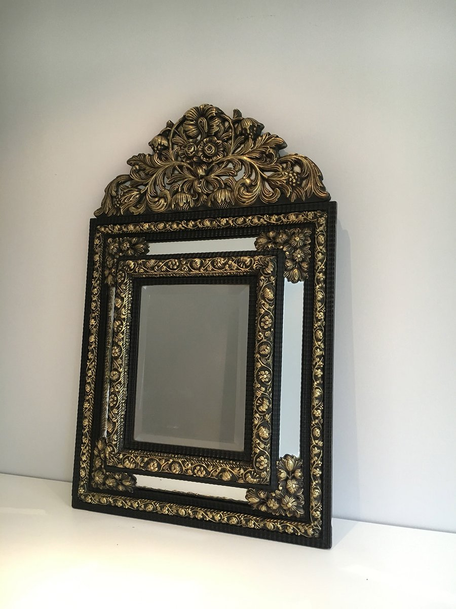 antiker spiegel mit ausgepr gtem kupfer 1880er bei pamono kaufen. Black Bedroom Furniture Sets. Home Design Ideas
