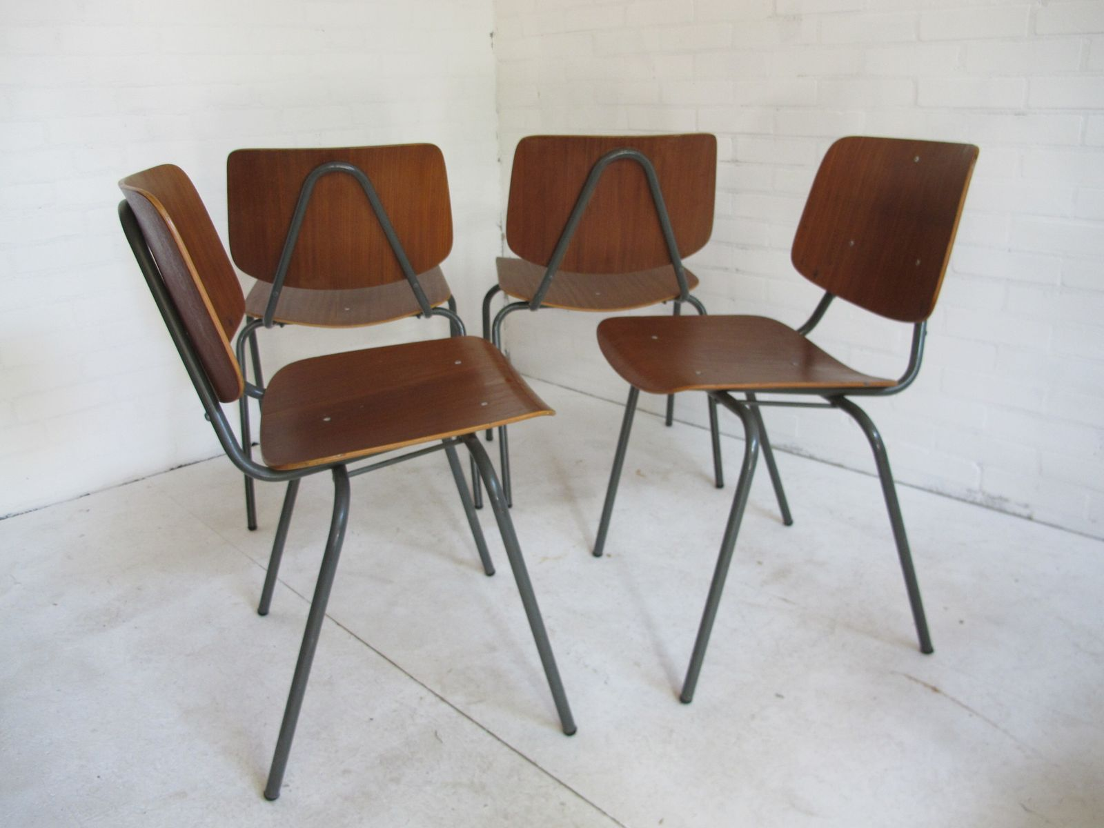 Vintage Teak Industrial Dining Chairs By Kho Liang Ie For
