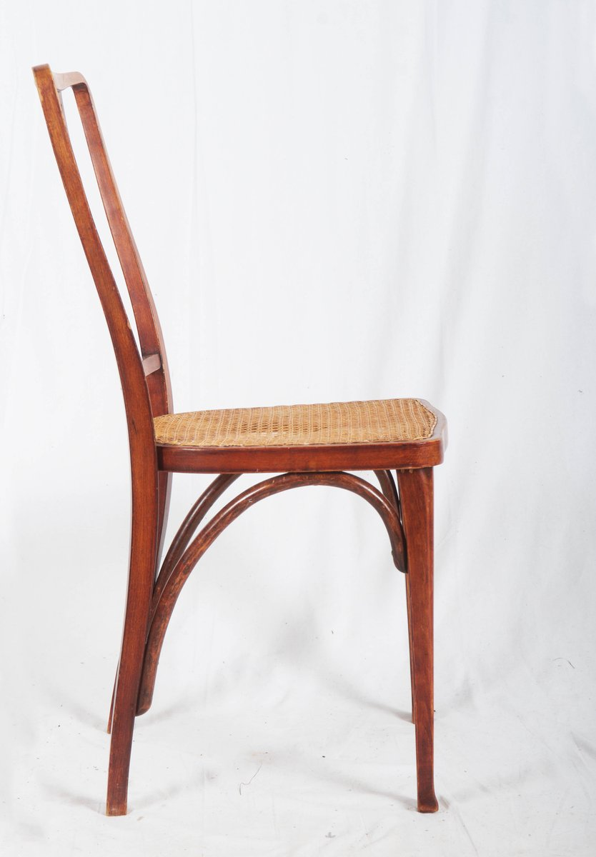 Antique Art Nouveau Beech and Cane Thonet Chairs from Thonet for