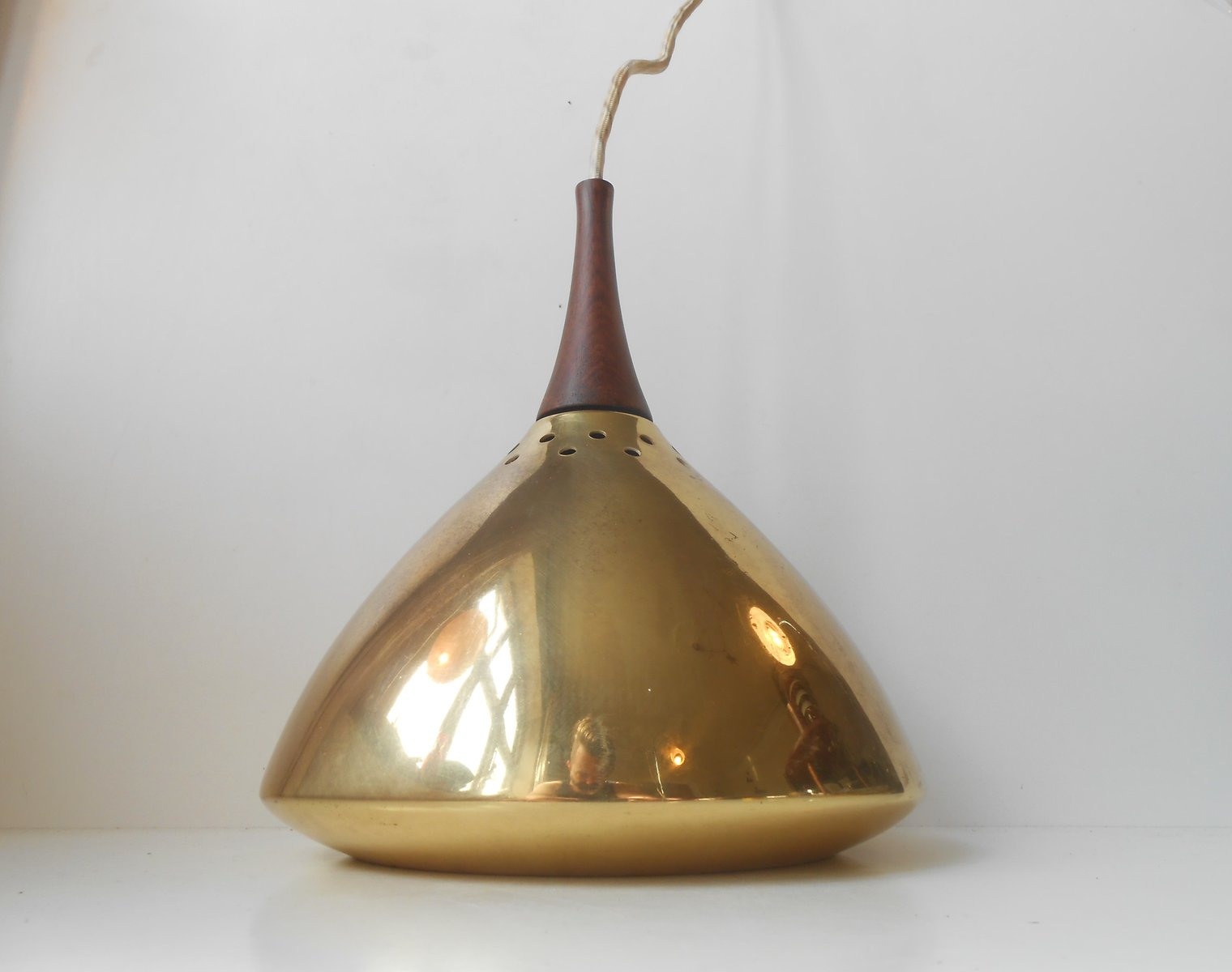 Mid century modern scandinavian solid brass rosewood for Mid century modern hanging lamp