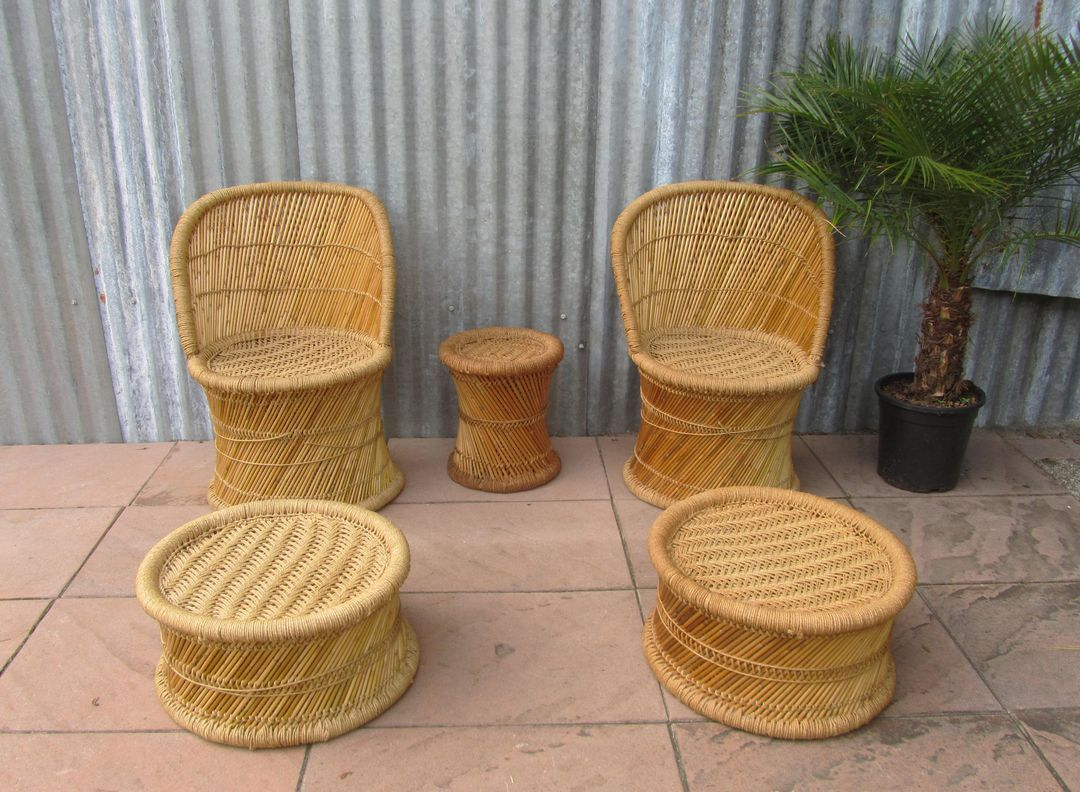 bamboo living room set. Vintage Spanish Bamboo Living Room Set  1970s of 5 for sale