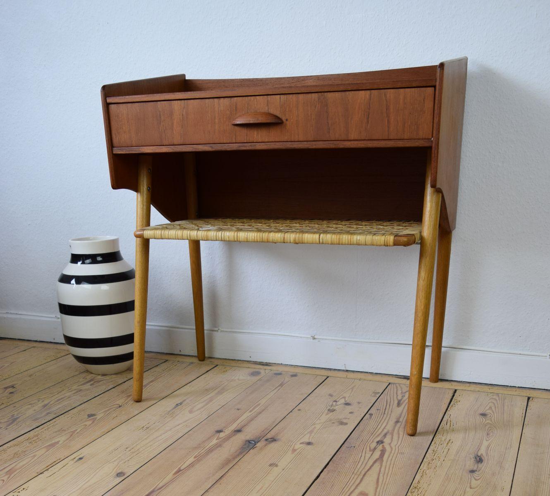 table de chevet en teck et en ch ne danemark 1960s en vente sur pamono. Black Bedroom Furniture Sets. Home Design Ideas