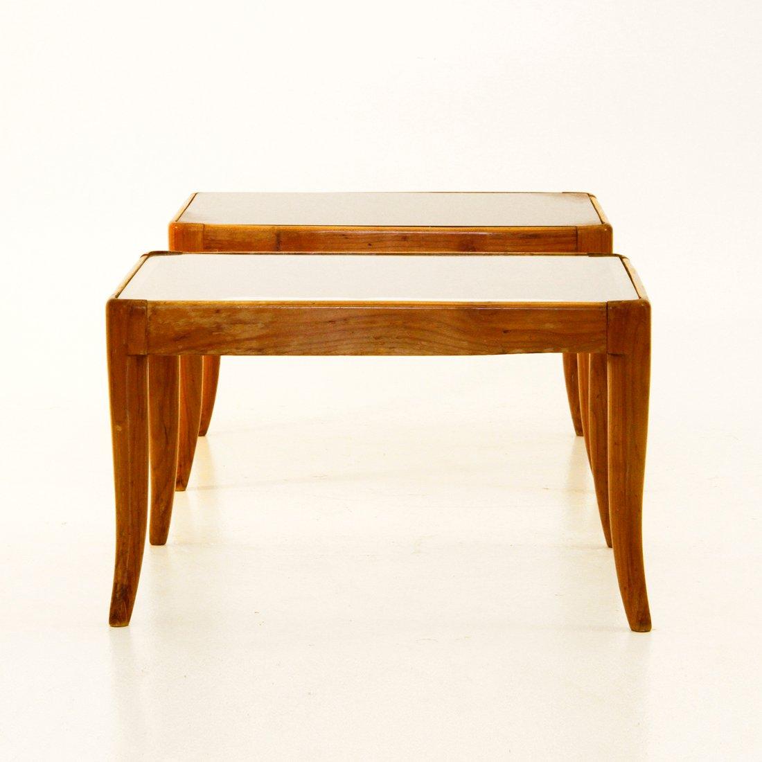 italienische beistelltische aus glas holz 1950er 2er. Black Bedroom Furniture Sets. Home Design Ideas
