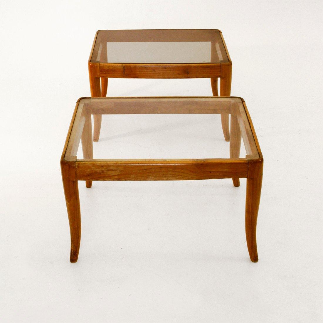 italienische beistelltische aus glas holz 1950er 2er set bei pamono kaufen. Black Bedroom Furniture Sets. Home Design Ideas