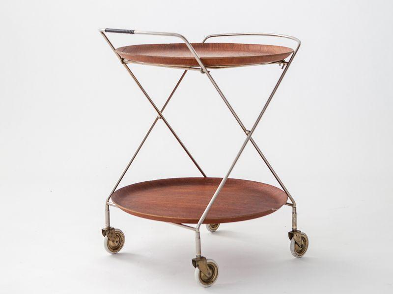 Vintage Swedish Teak U0026 Metal Tray Table
