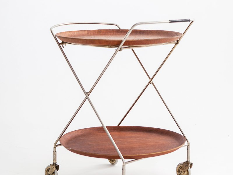 Vintage Swedish Teak U0026 Metal Tray Table