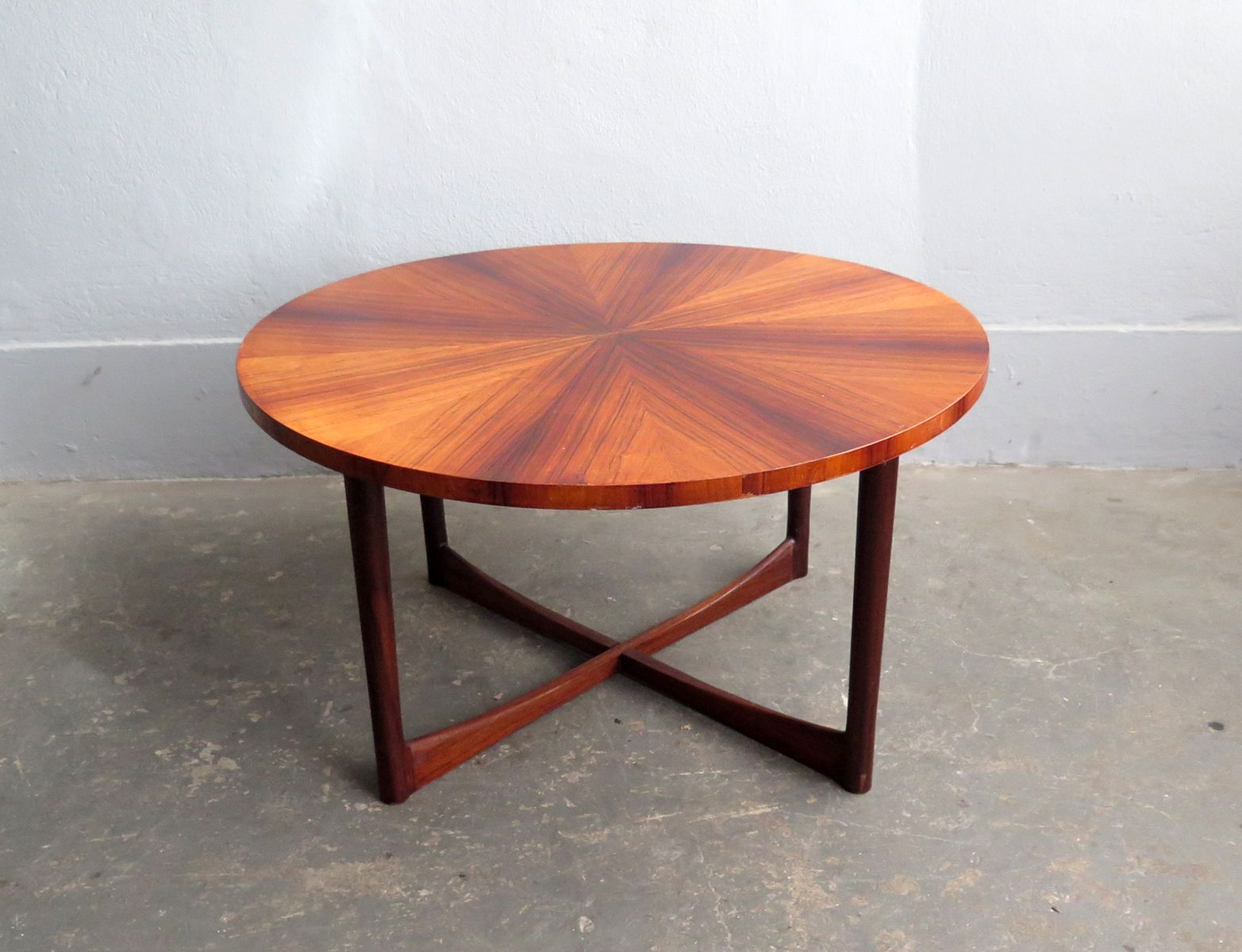 Mid Century Rosewood Coffee Table With Cross Base For Sale At Pamono