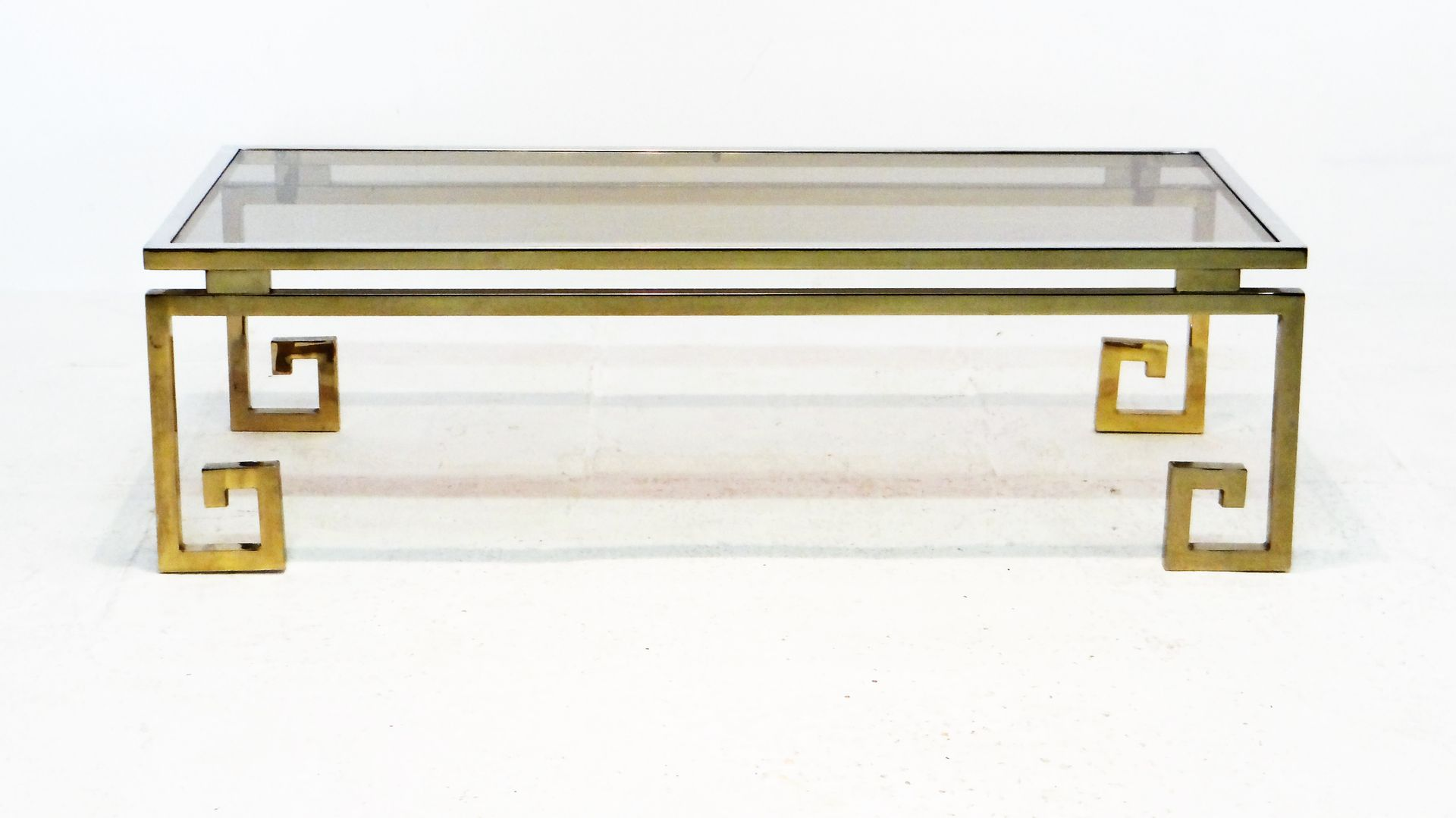 Beautiful Vintage Gilded Chrome Greek Key Coffee Table
