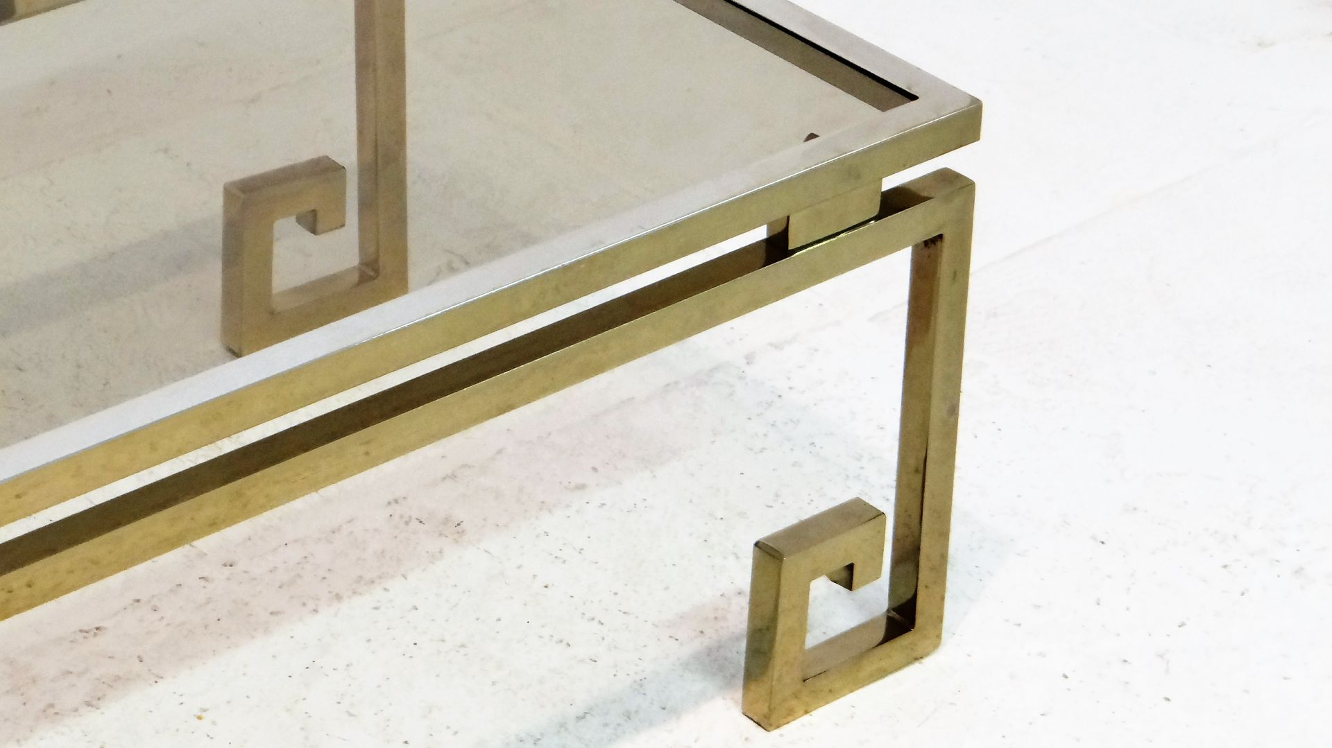Vintage gilded chrome greek key coffee table for sale at pamono vintage gilded chrome greek key coffee table geotapseo Gallery