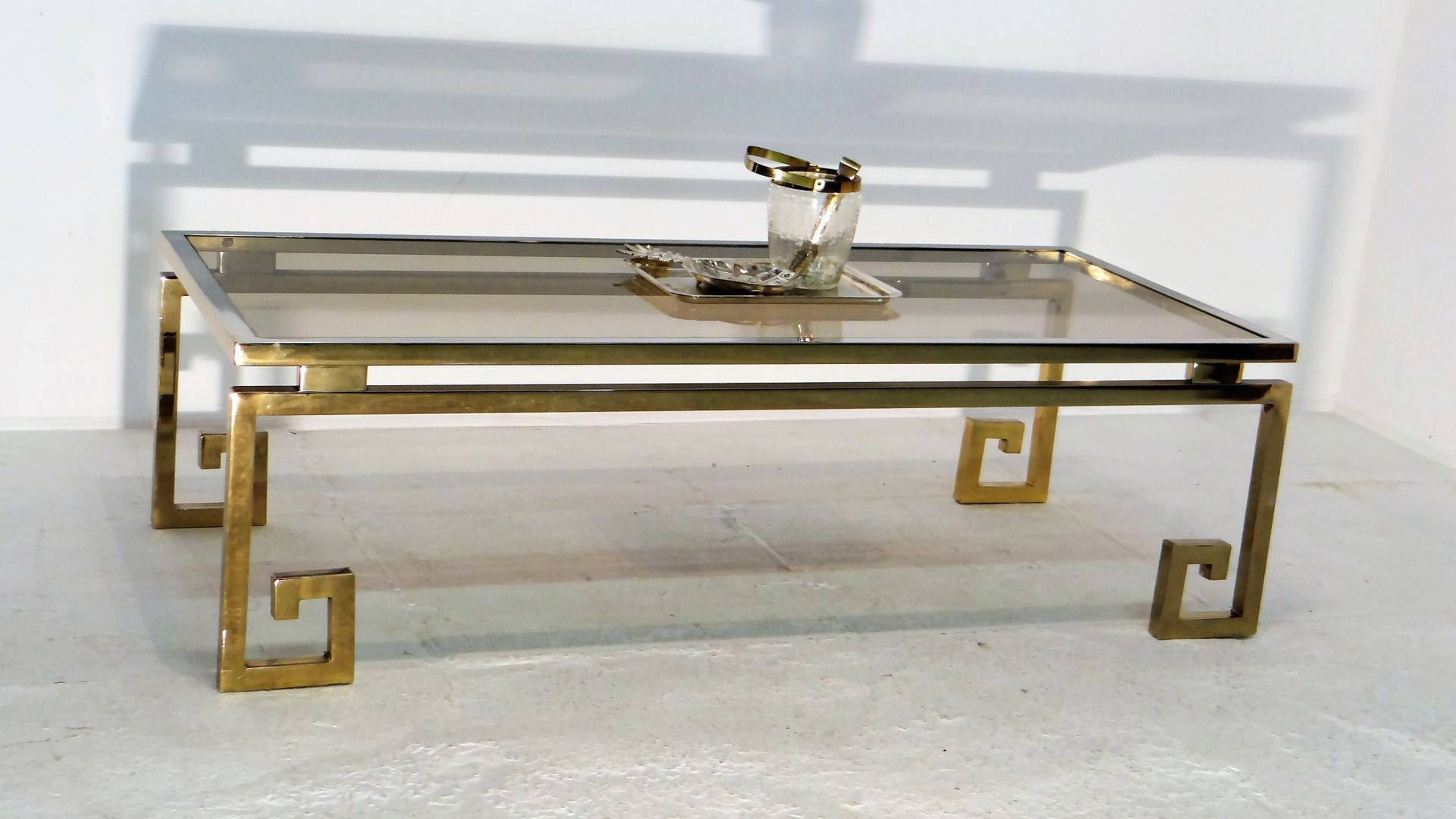 Amazing Vintage Gilded Chrome Greek Key Coffee Table For At Pamono